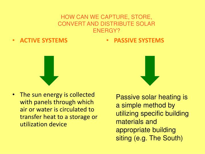 HOW CAN WE CAPTURE, STORE, CONVERT AND DISTRIBUTE SOLAR ENERGY?