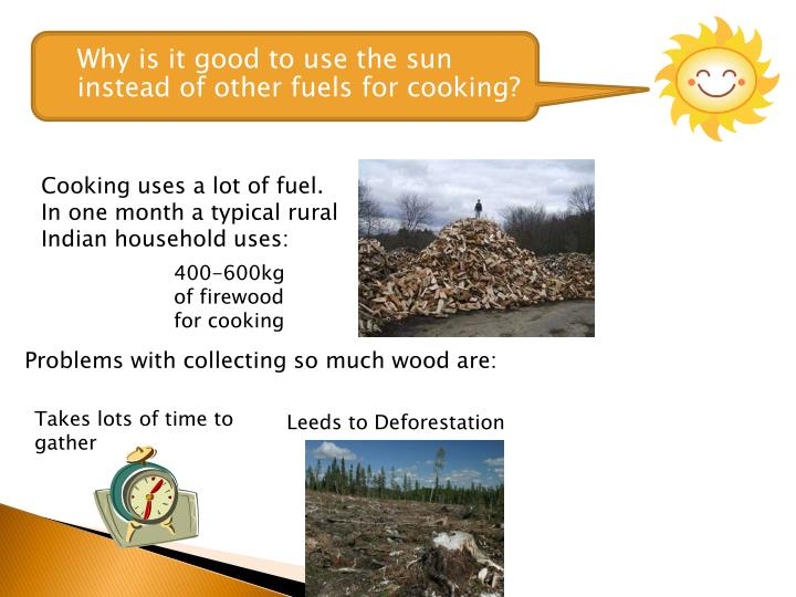 Why is it good to use the sun instead of other fuels for cooking?