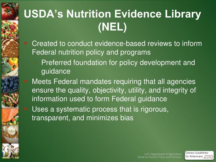 USDA's Nutrition Evidence Library (NEL)