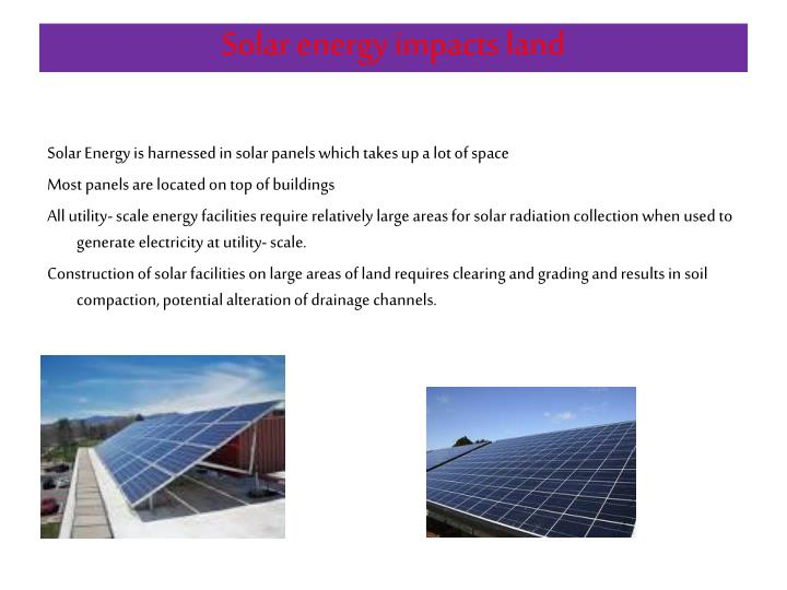 Solar energy impacts land