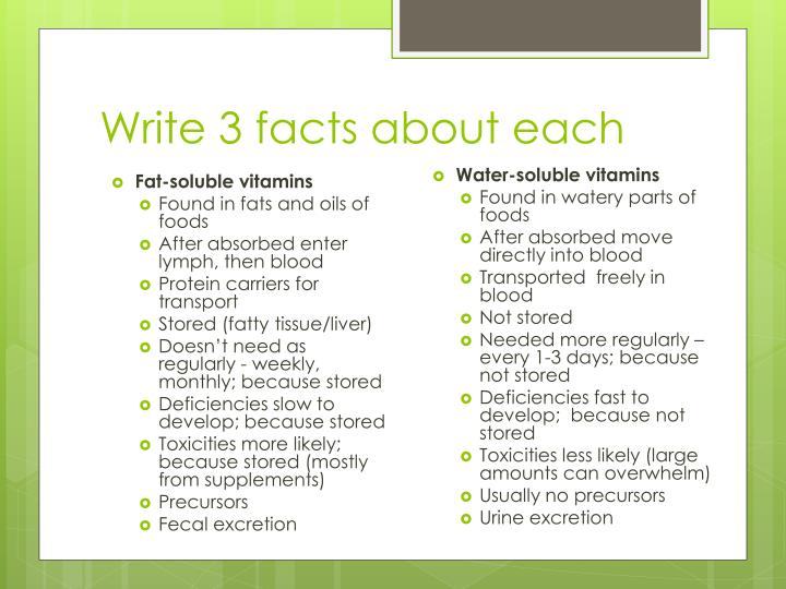 Write 3 facts about each