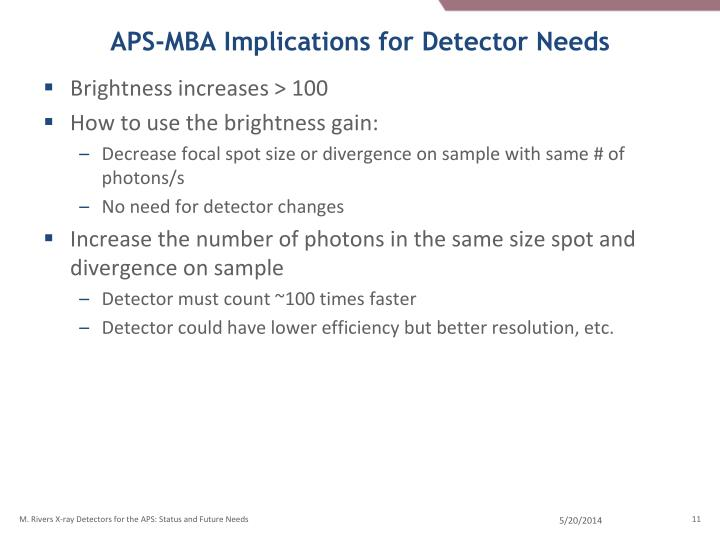 APS-MBA Implications for Detector Needs