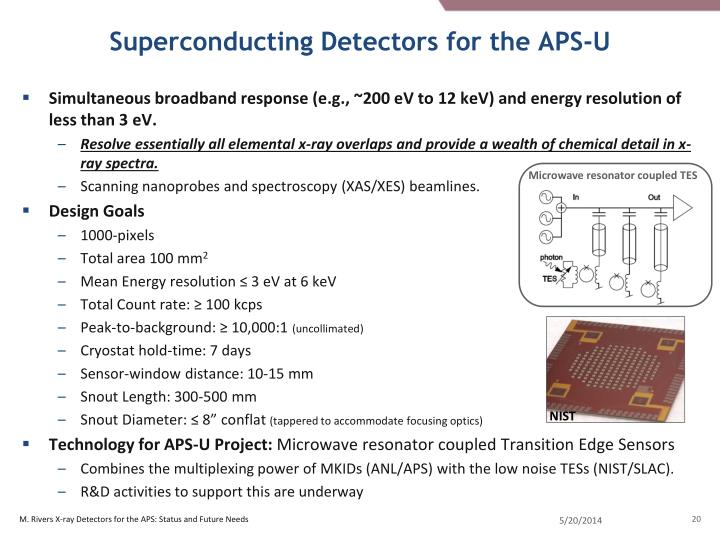 Superconducting Detectors for the APS-U