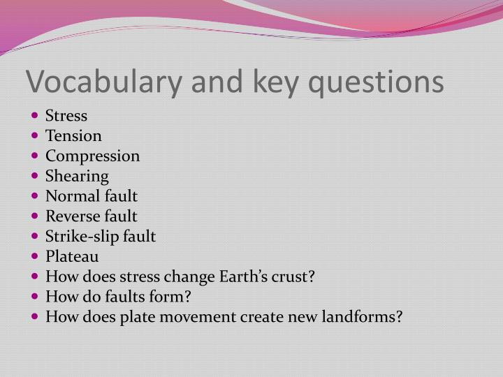 Vocabulary and key questions