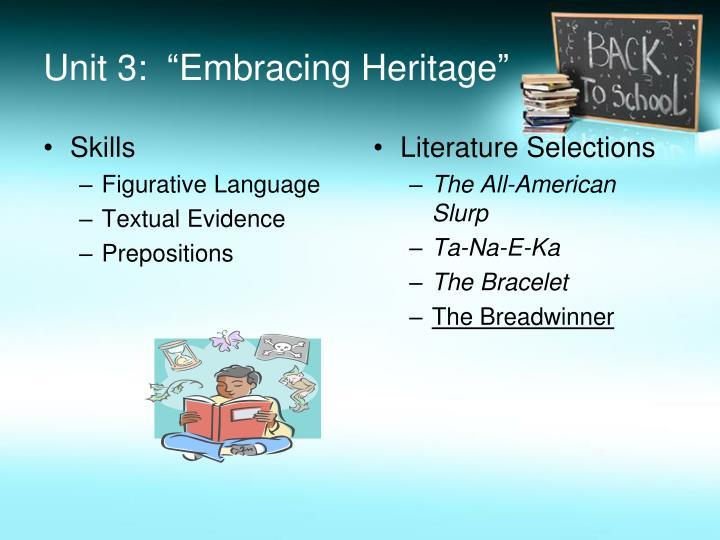 "Unit 3:  ""Embracing Heritage"""