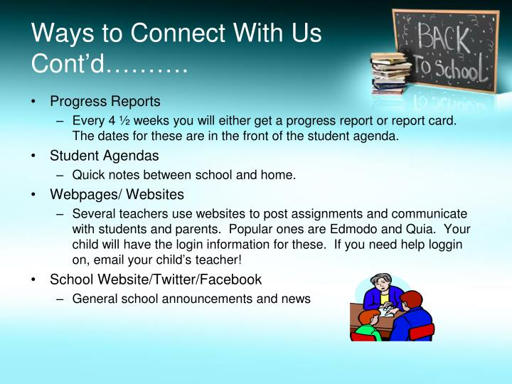 Ways to Connect With Us Cont'd……….