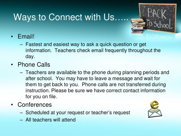 Ways to Connect with Us…..
