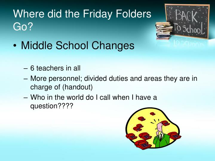 Where did the Friday Folders Go?