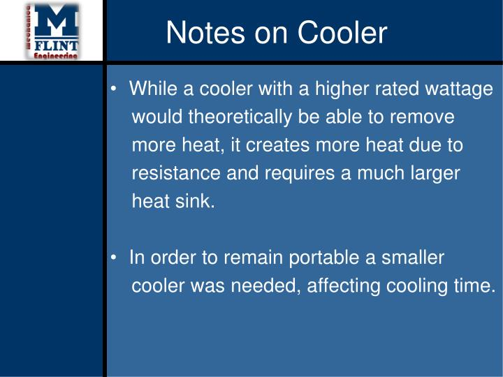 Notes on Cooler