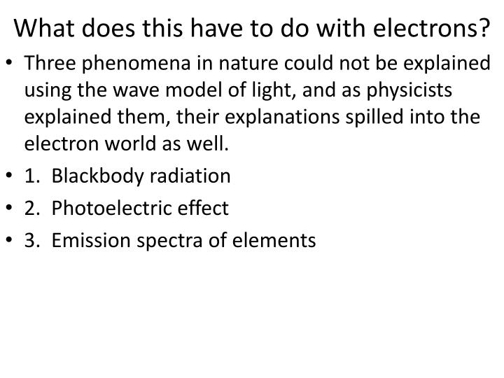 What does this have to do with electrons?