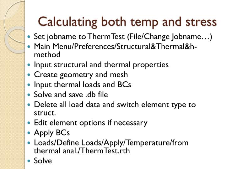 Calculating both temp and stress