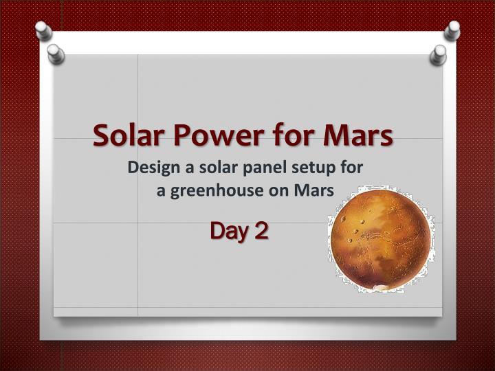 Solar Power for Mars