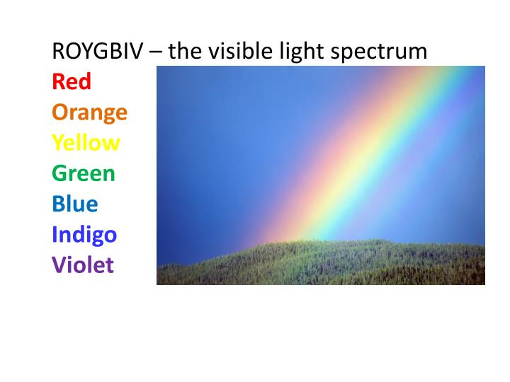 ROYGBIV – the visible light spectrum