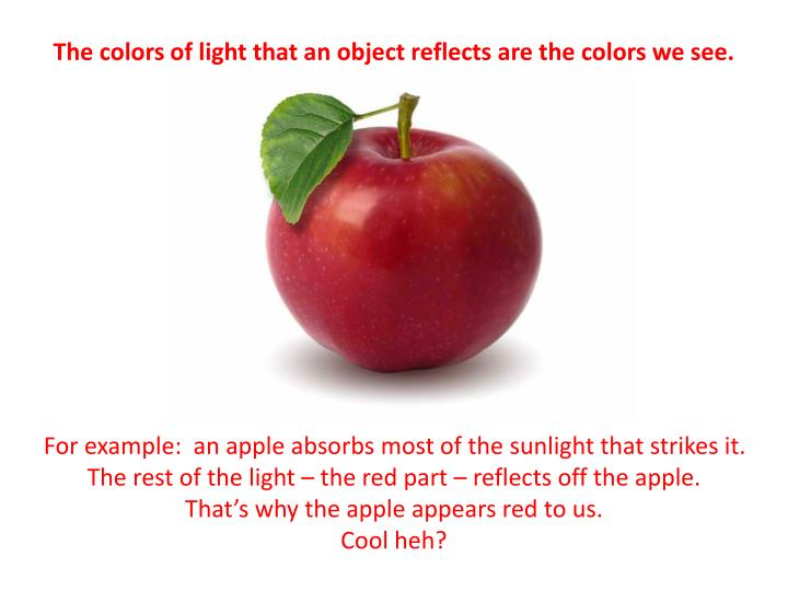 The colors of light that an object reflects are the colors we see.