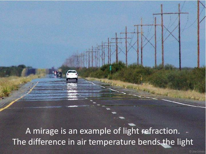 A mirage is an example of light refraction.