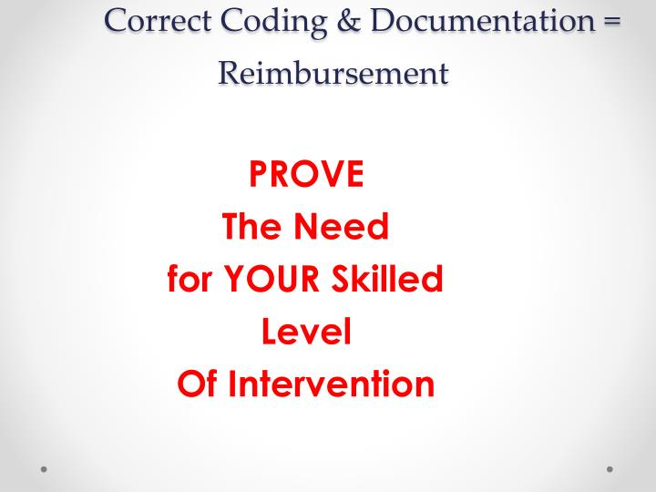 Correct Coding & Documentation = Reimbursement