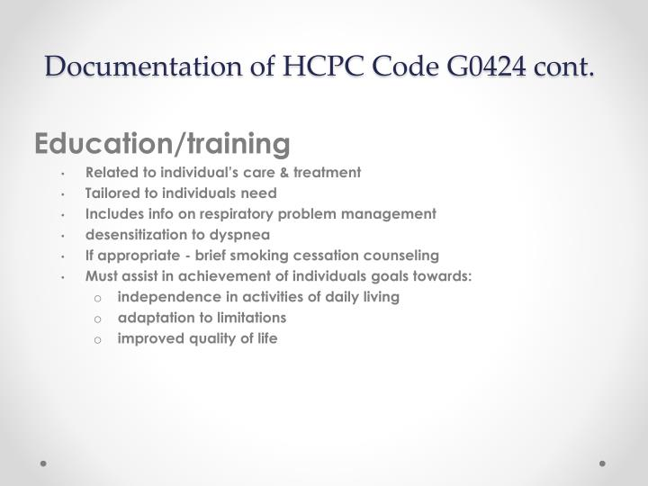 Documentation of HCPC Code G0424 cont.