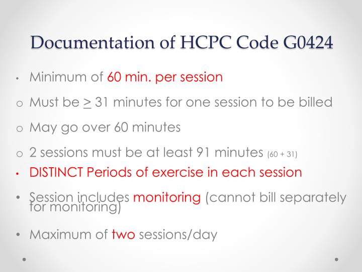 Documentation of HCPC Code G0424