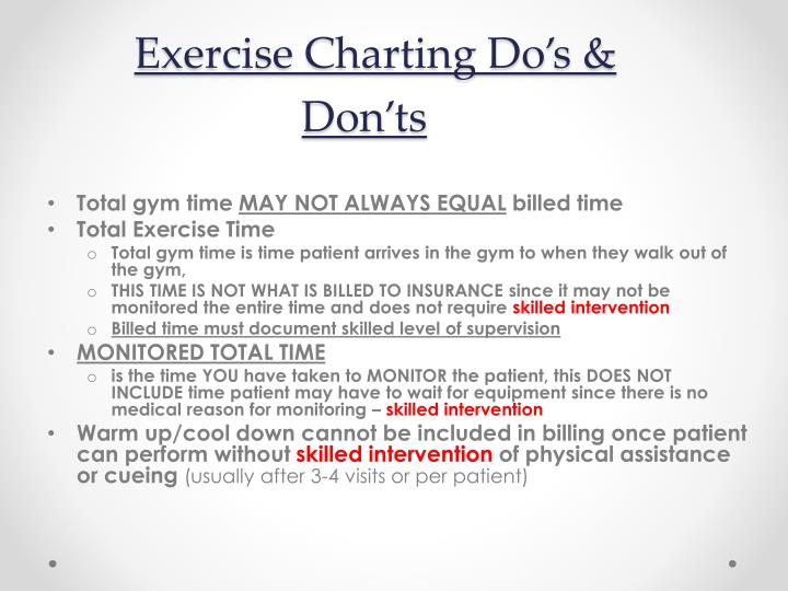 Exercise Charting Do's & Don'ts