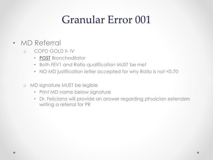 Granular Error 001