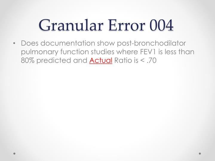 Granular Error 004