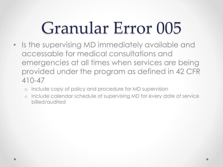 Granular Error 005