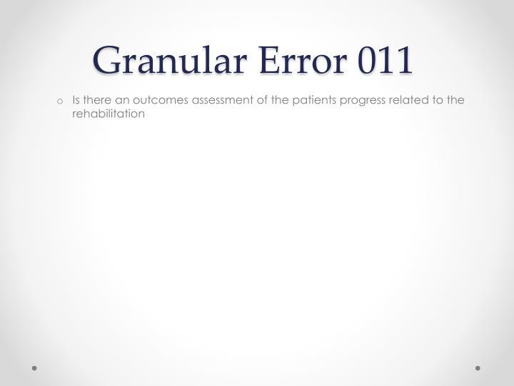 Granular Error 011