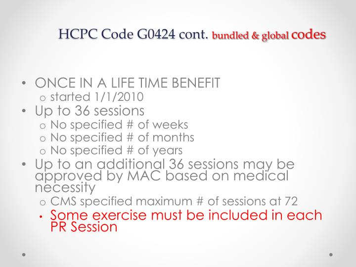 HCPC Code G0424 cont.