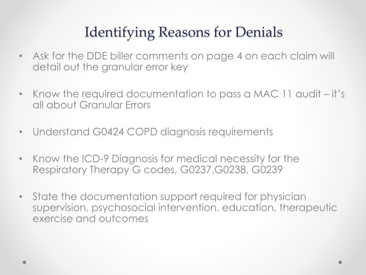 Identifying Reasons for Denials