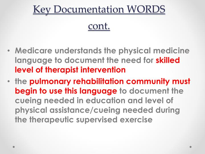 Key Documentation WORDS cont.