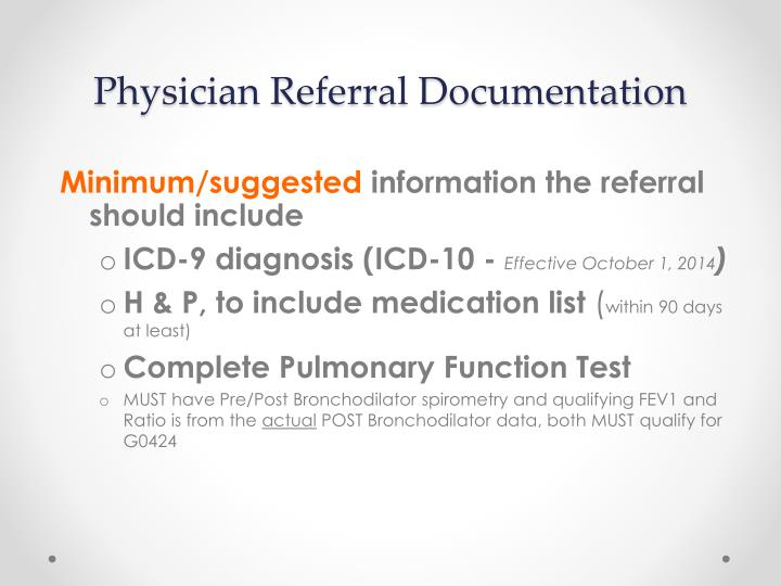 Physician Referral Documentation