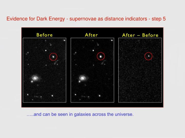 Evidence for Dark Energy - supernovae as distance indicators - step 5