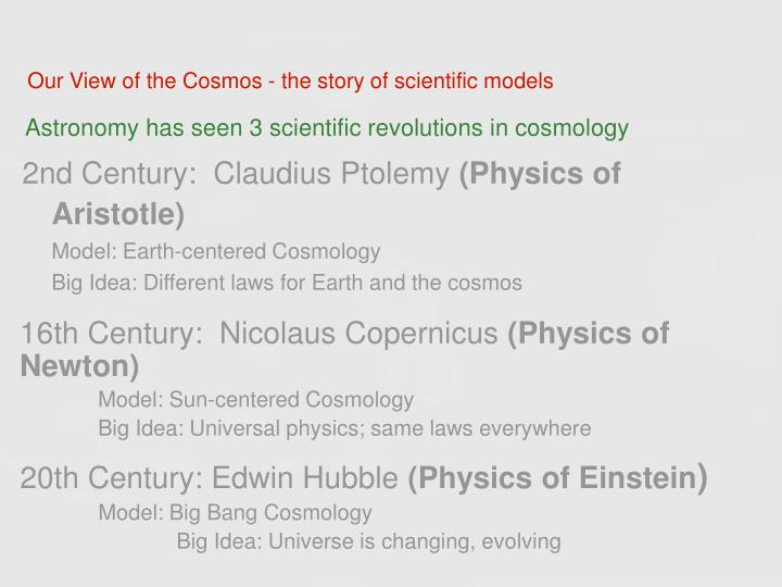 Our View of the Cosmos - the story of scientific models