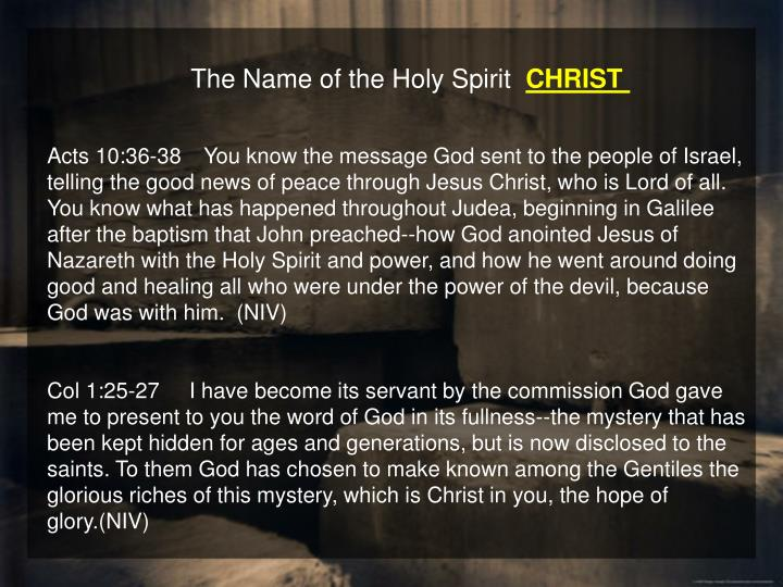 The Name of the Holy Spirit