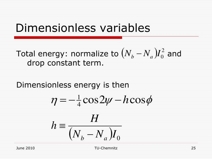 Dimensionless variables