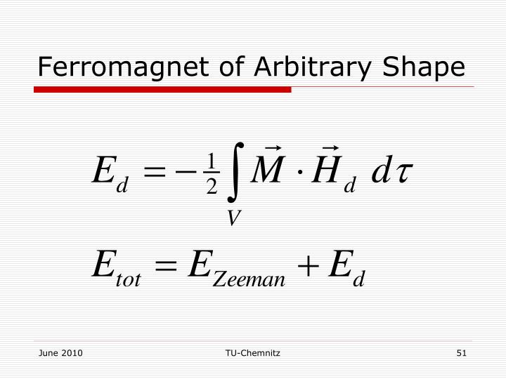 Ferromagnet of Arbitrary Shape