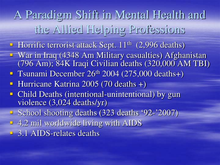 A Paradigm Shift in Mental Health and the Allied Helping Professions