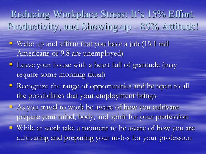 Reducing Workplace Stress: It's 15% Effort, Productivity, and Showing-up - 85% Attitude!