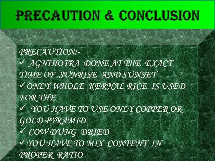 PRECAUTION & CONCLUSION