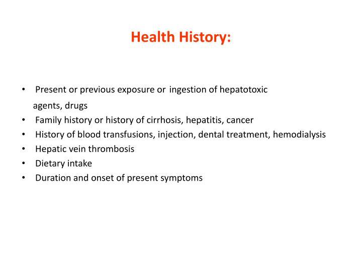 Health History: