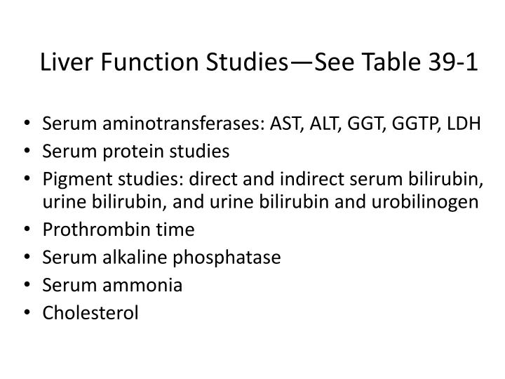 Liver Function Studies—See Table 39-1