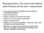 nursing process the care of the patient with cirrhosis of the liver assessment