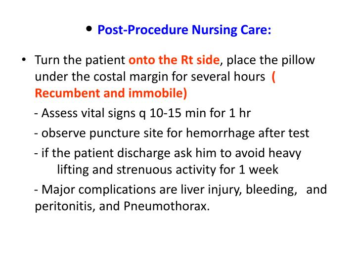 Post-Procedure Nursing Care: