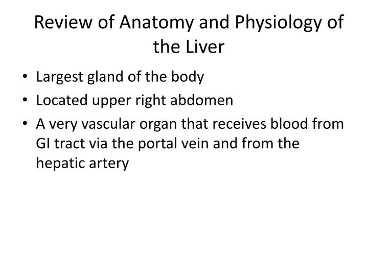 Review of anatomy and physiology of the liver