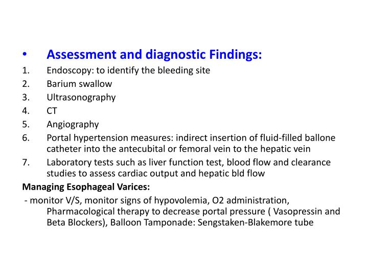 Assessment and diagnostic Findings: