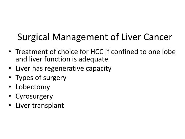 Surgical Management of Liver Cancer