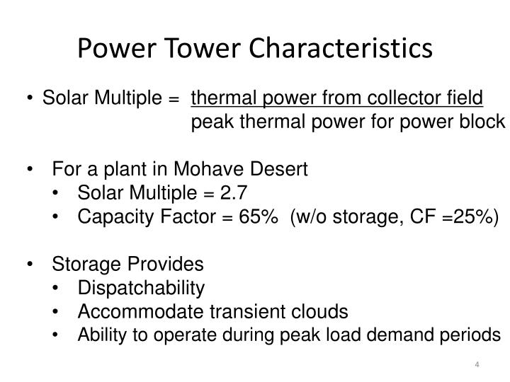 Power Tower Characteristics