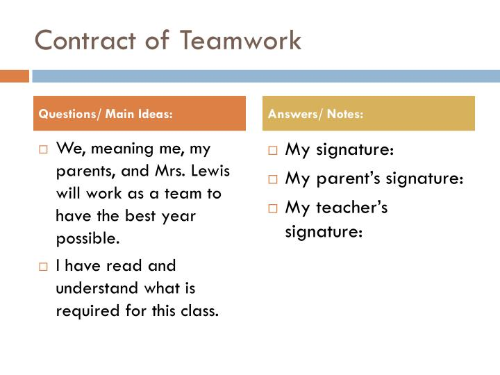 Contract of Teamwork