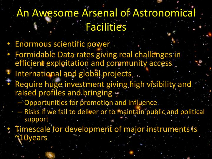 An Awesome Arsenal of Astronomical Facilities