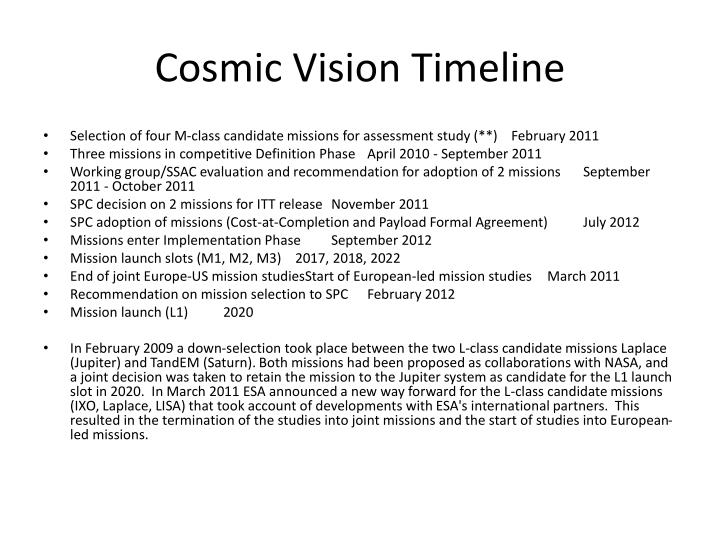 Cosmic Vision Timeline